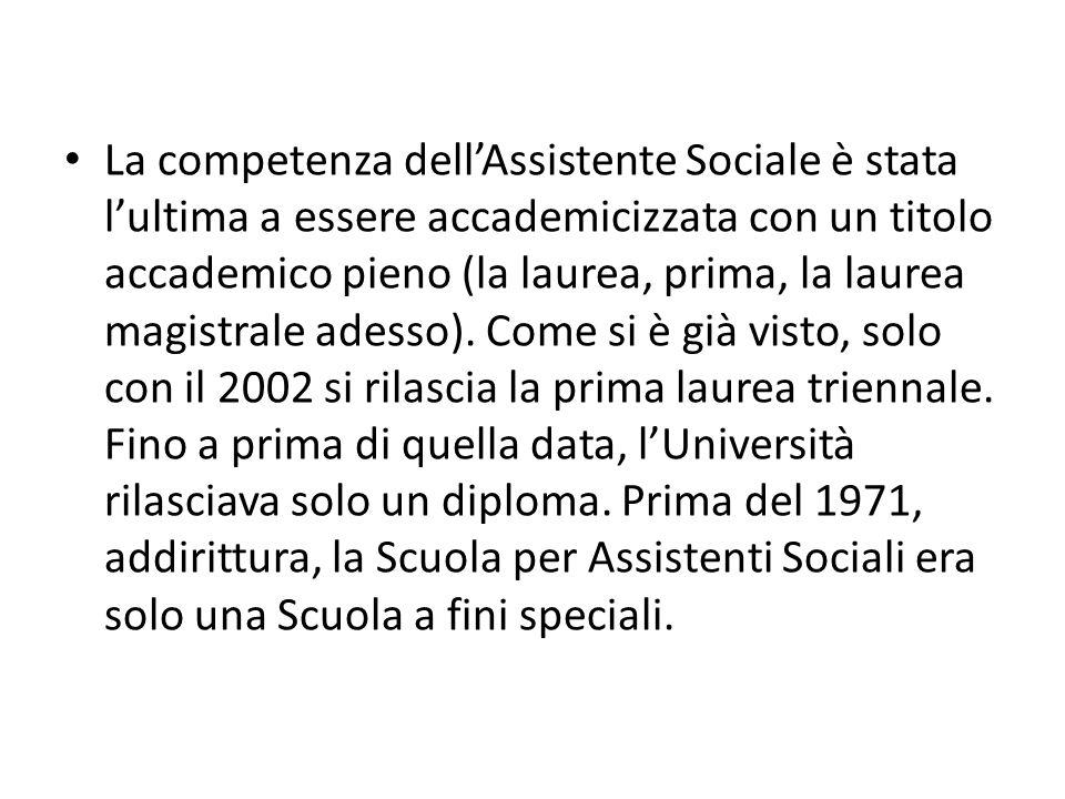 La competenza dell'Assistente Sociale è stata l'ultima a essere accademicizzata con un titolo accademico pieno (la laurea, prima, la laurea magistrale adesso).