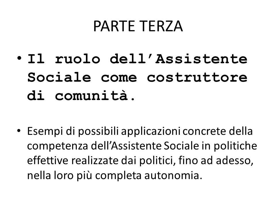 PARTE TERZA Il ruolo dell'Assistente Sociale come costruttore di comunità.