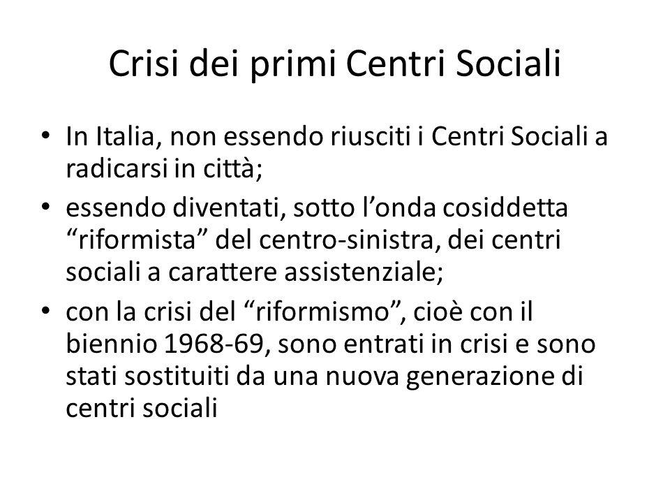 Crisi dei primi Centri Sociali