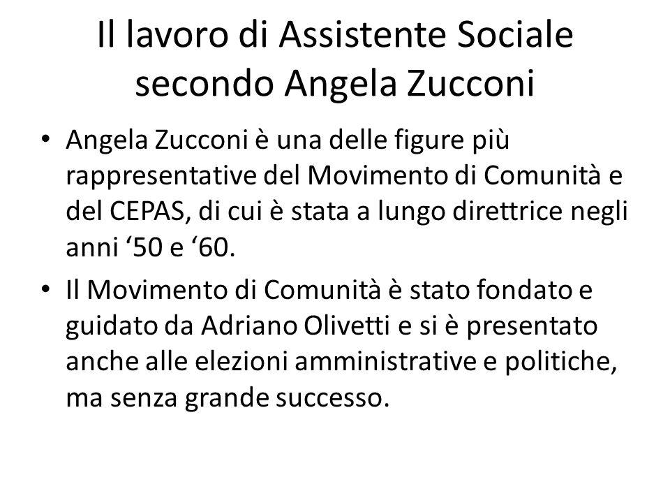 Il lavoro di Assistente Sociale secondo Angela Zucconi