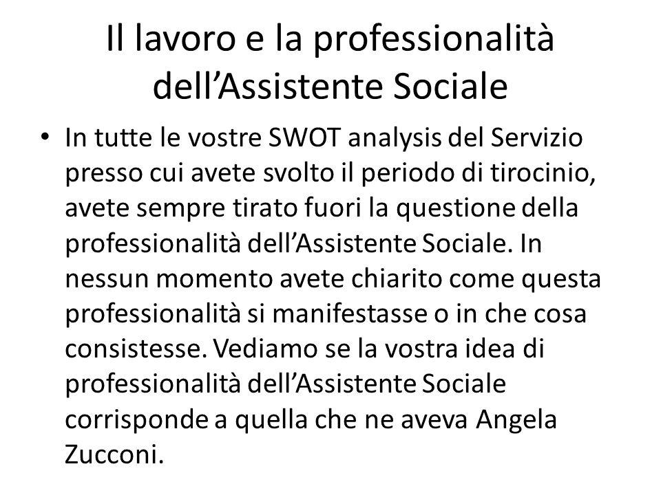 Il lavoro e la professionalità dell'Assistente Sociale