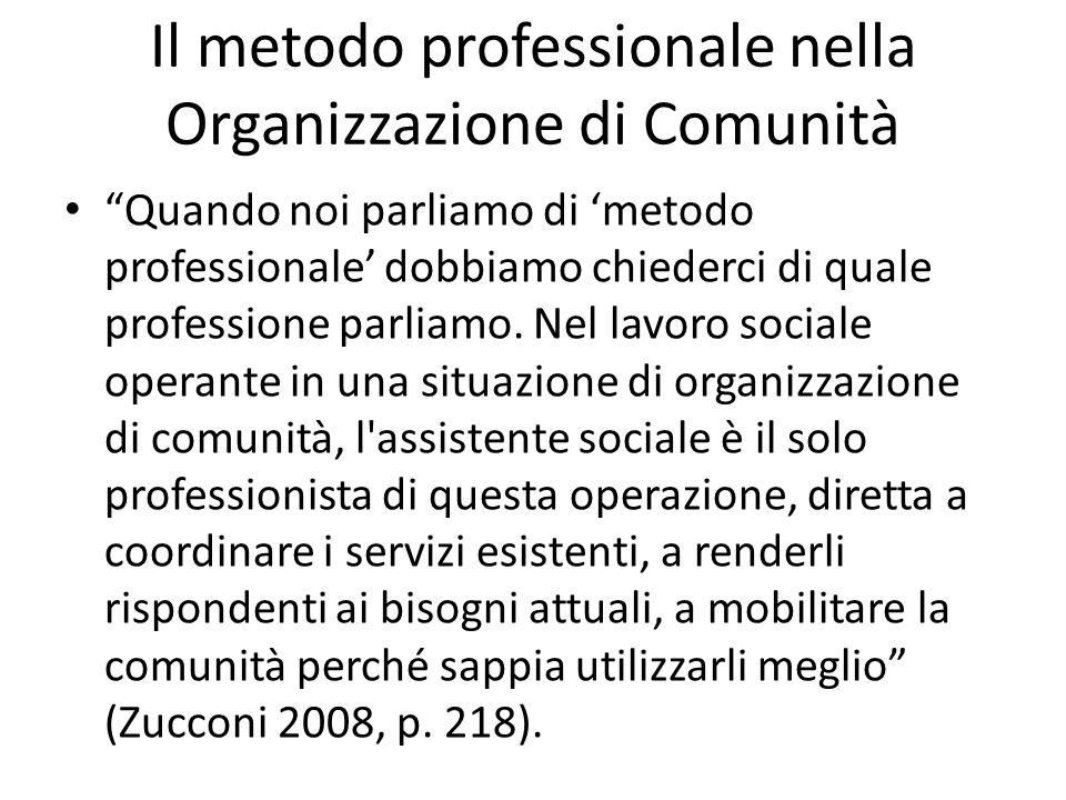Il metodo professionale nella Organizzazione di Comunità