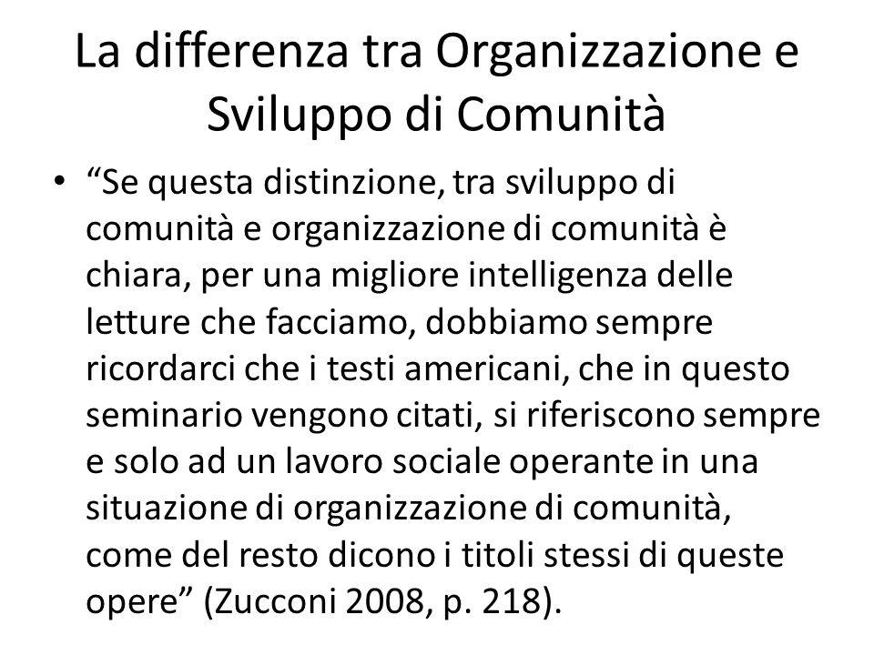 La differenza tra Organizzazione e Sviluppo di Comunità