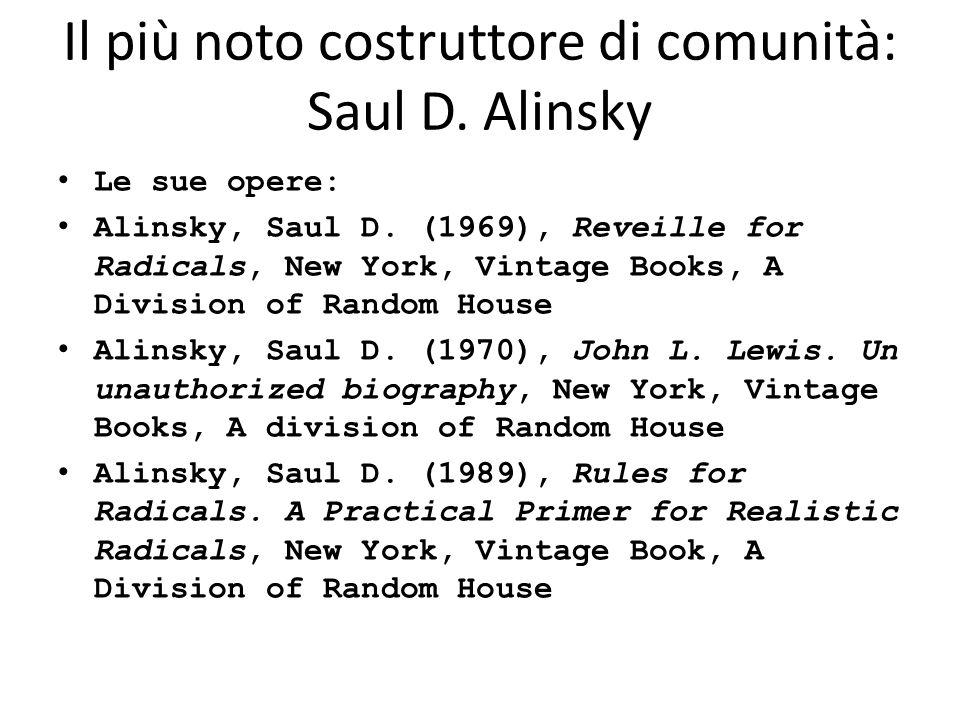 Il più noto costruttore di comunità: Saul D. Alinsky