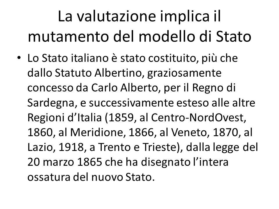 La valutazione implica il mutamento del modello di Stato