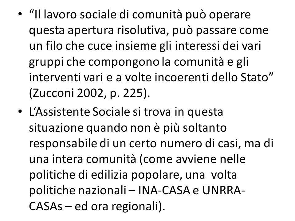 Il lavoro sociale di comunità può operare questa apertura risolutiva, può passare come un filo che cuce insieme gli interessi dei vari gruppi che compongono la comunità e gli interventi vari e a volte incoerenti dello Stato (Zucconi 2002, p. 225).