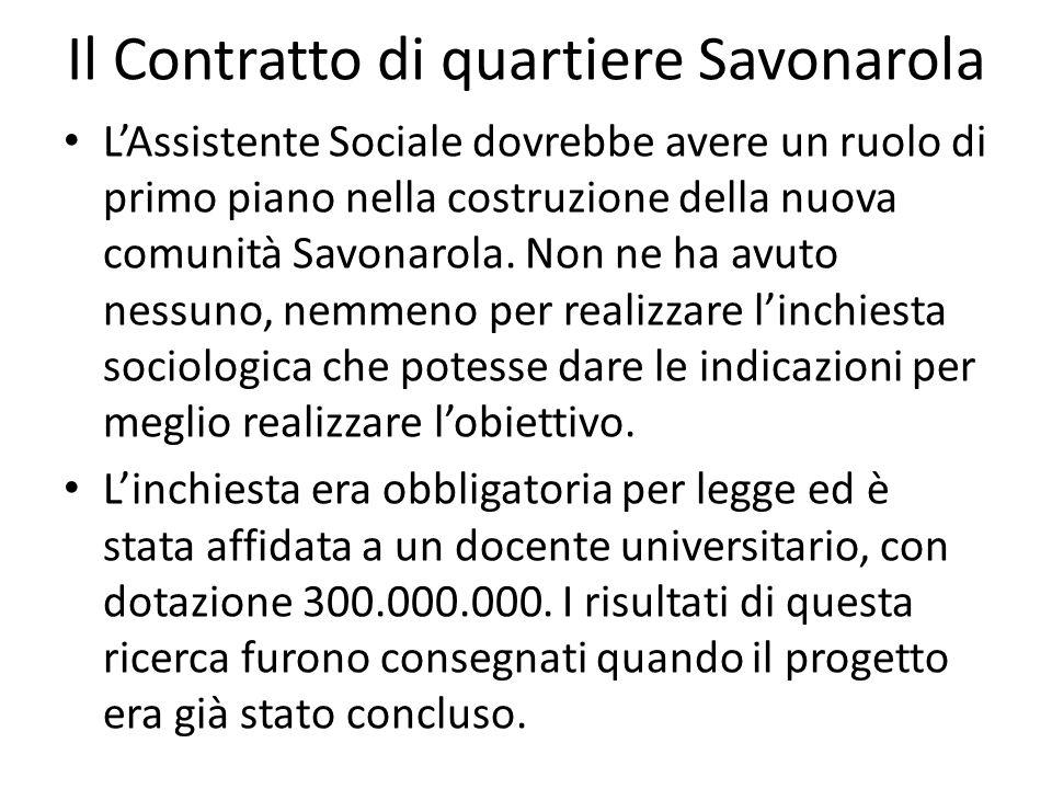 Il Contratto di quartiere Savonarola