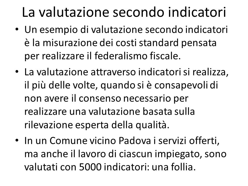 La valutazione secondo indicatori