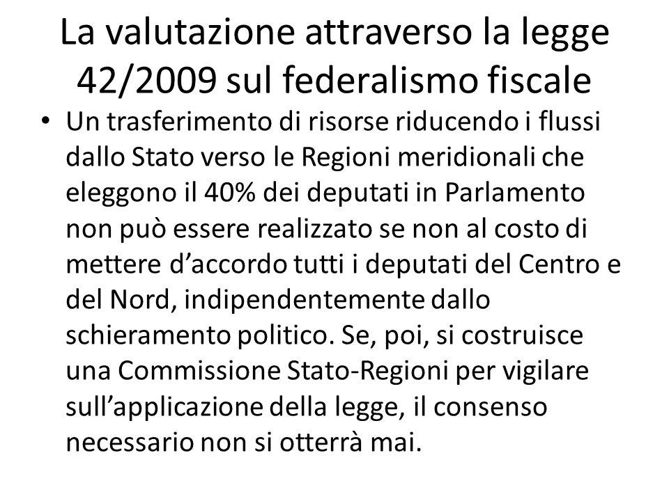 La valutazione attraverso la legge 42/2009 sul federalismo fiscale