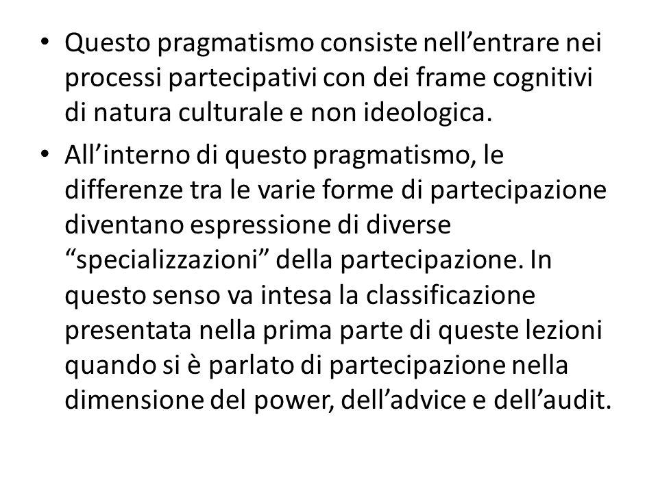 Questo pragmatismo consiste nell'entrare nei processi partecipativi con dei frame cognitivi di natura culturale e non ideologica.