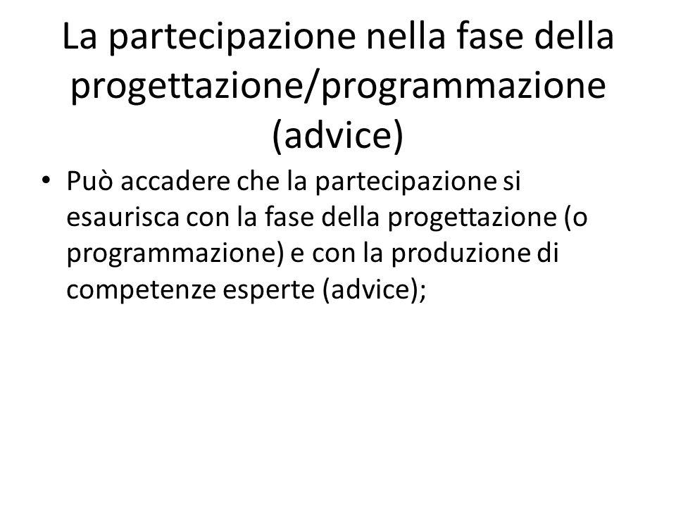 La partecipazione nella fase della progettazione/programmazione (advice)