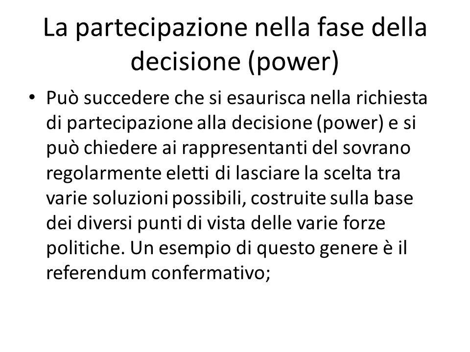 La partecipazione nella fase della decisione (power)