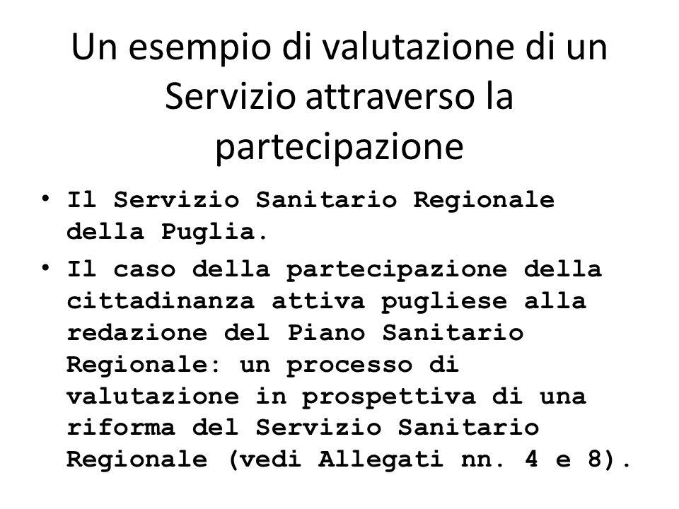 Un esempio di valutazione di un Servizio attraverso la partecipazione