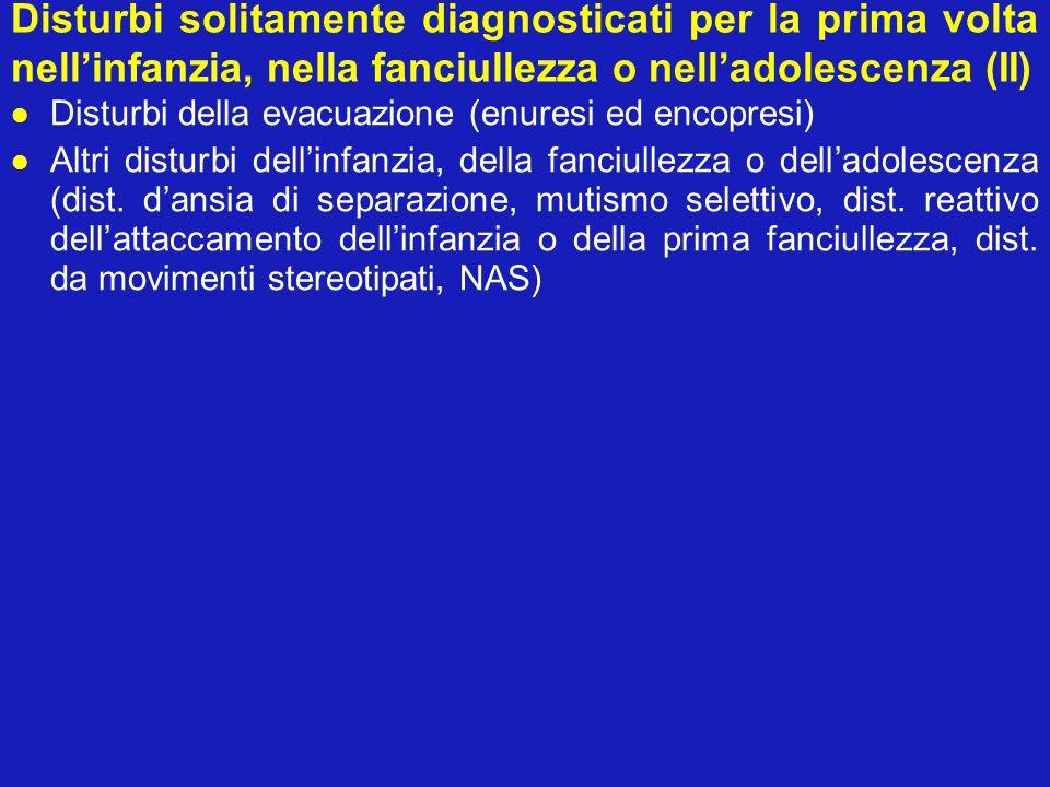 Disturbi solitamente diagnosticati per la prima volta nell'infanzia, nella fanciullezza o nell'adolescenza (II)