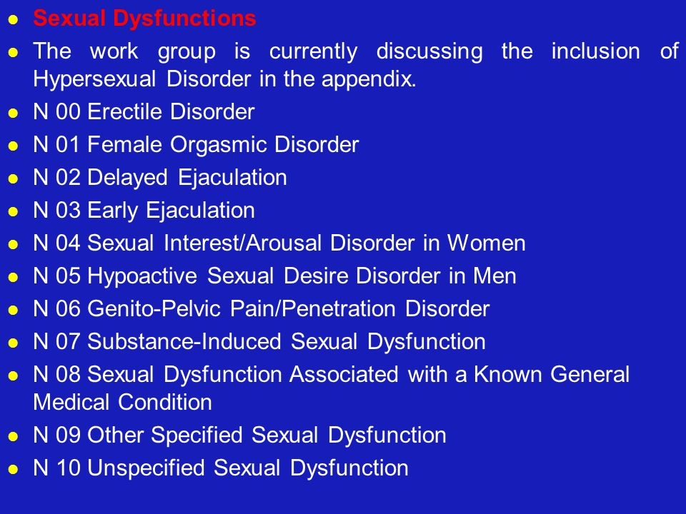 Sexual Dysfunctions The work group is currently discussing the inclusion of Hypersexual Disorder in the appendix.