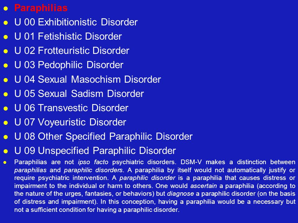 U 00 Exhibitionistic Disorder U 01 Fetishistic Disorder