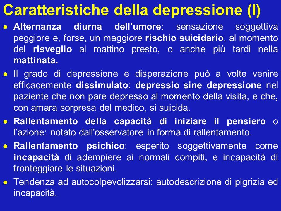 Caratteristiche della depressione (I)