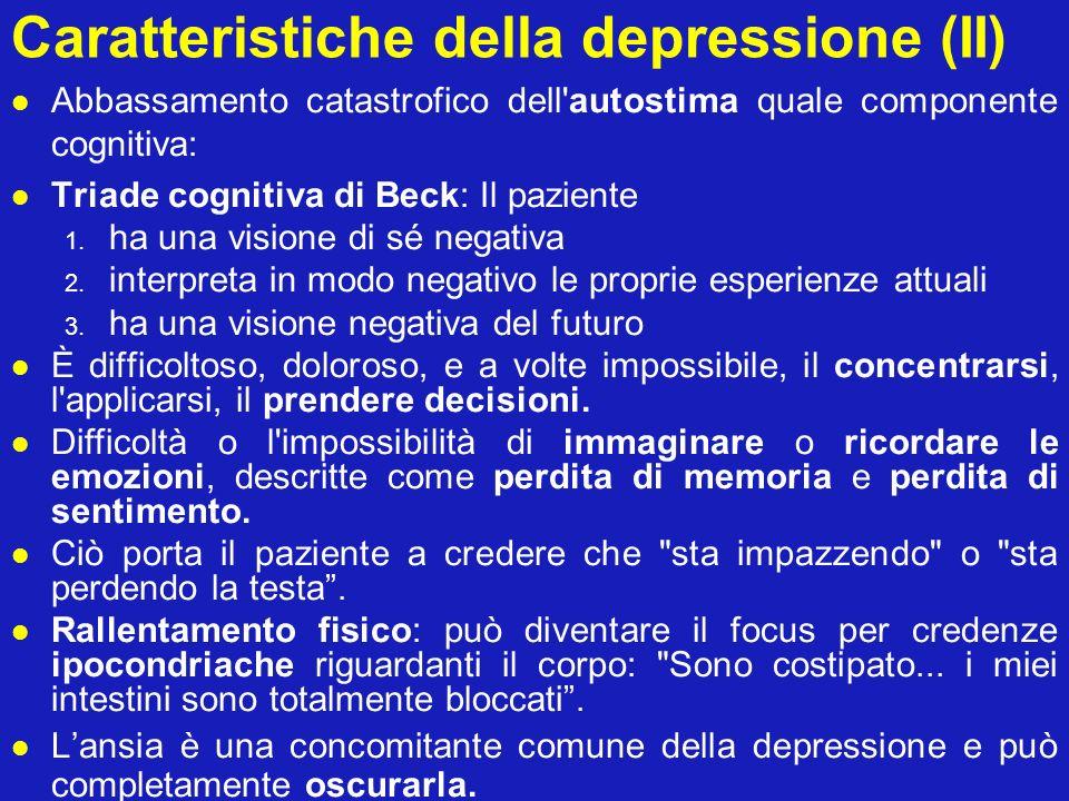 Caratteristiche della depressione (II)