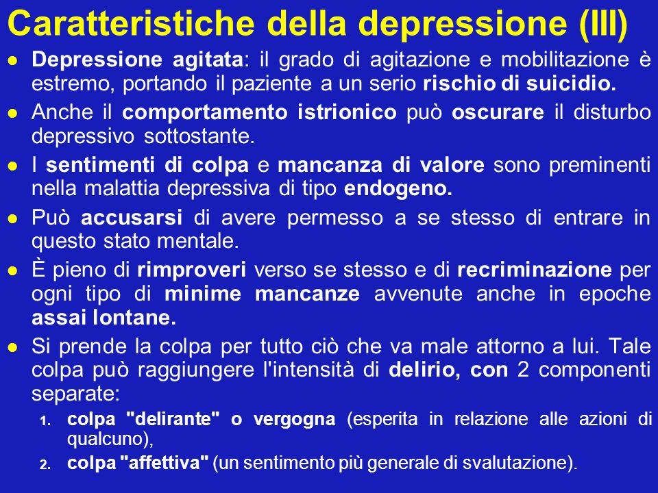 Caratteristiche della depressione (III)