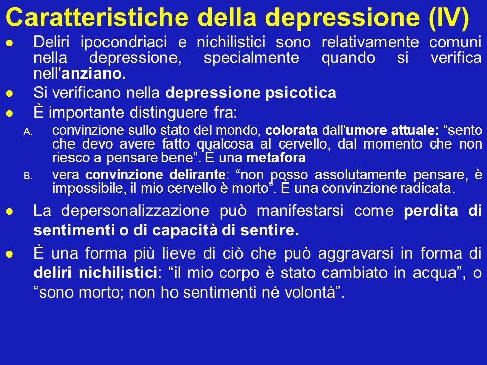 Caratteristiche della depressione (IV)