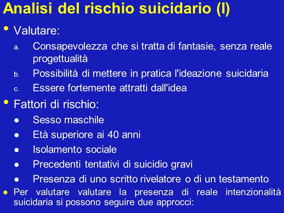 Analisi del rischio suicidario (I)
