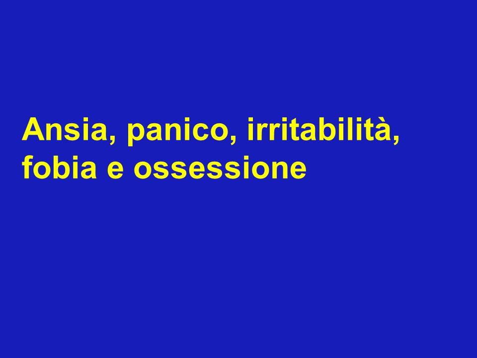 Ansia, panico, irritabilità, fobia e ossessione