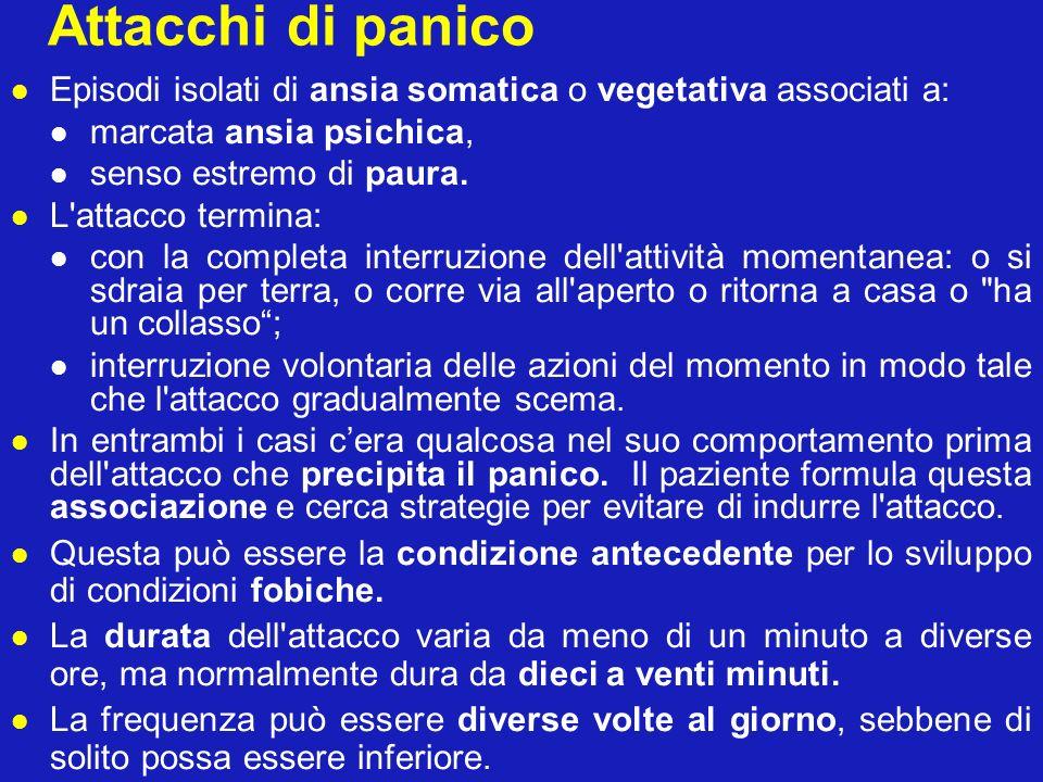 Attacchi di panico Episodi isolati di ansia somatica o vegetativa associati a: marcata ansia psichica,