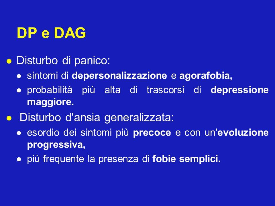DP e DAG Disturbo di panico: Disturbo d ansia generalizzata: