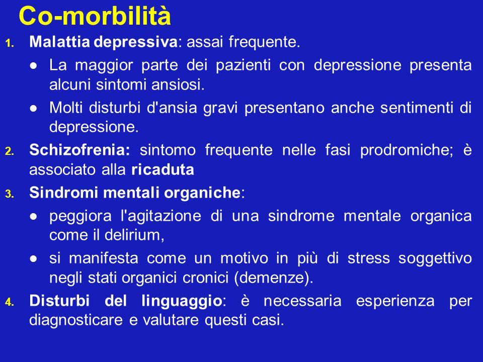 Co-morbilità Malattia depressiva: assai frequente.
