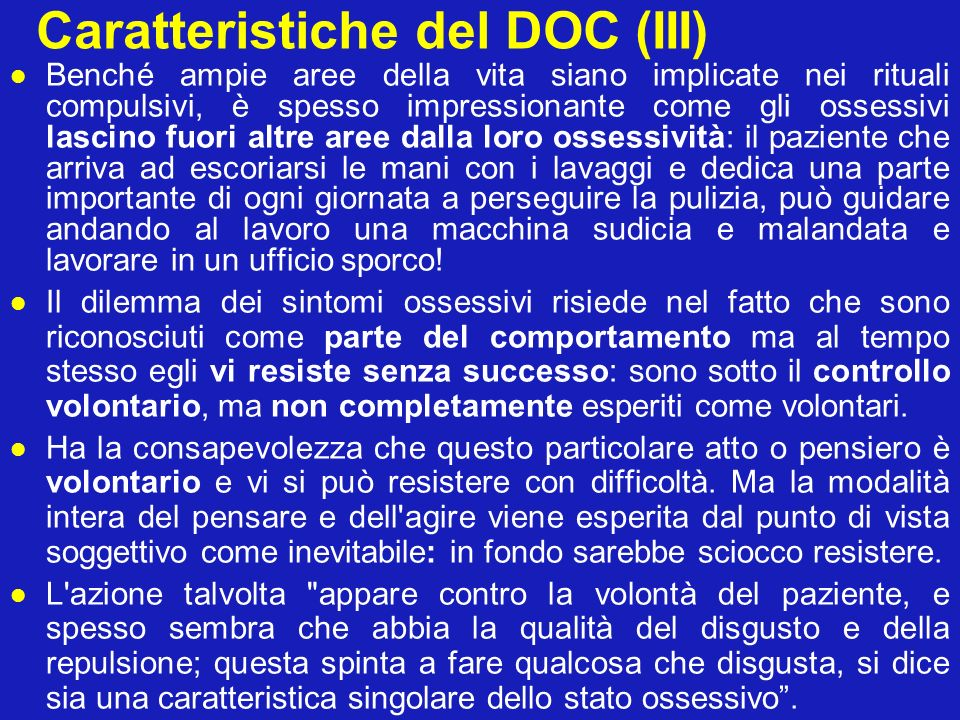 Caratteristiche del DOC (III)