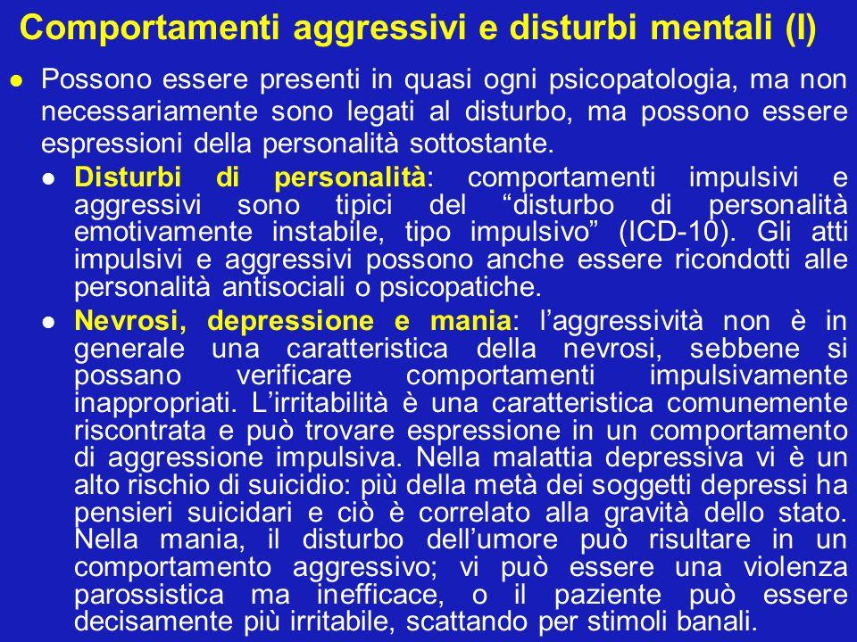 Comportamenti aggressivi e disturbi mentali (I)