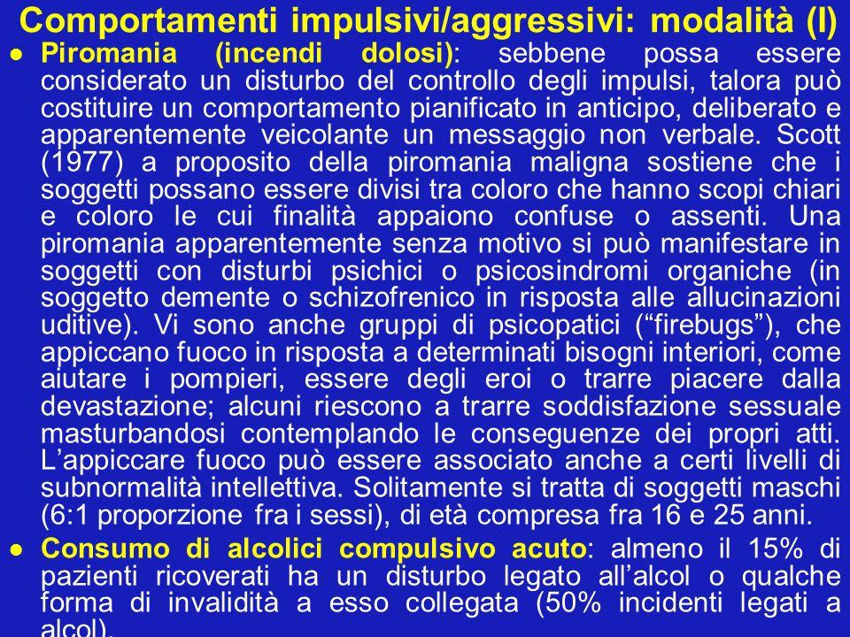 Comportamenti impulsivi/aggressivi: modalità (I)