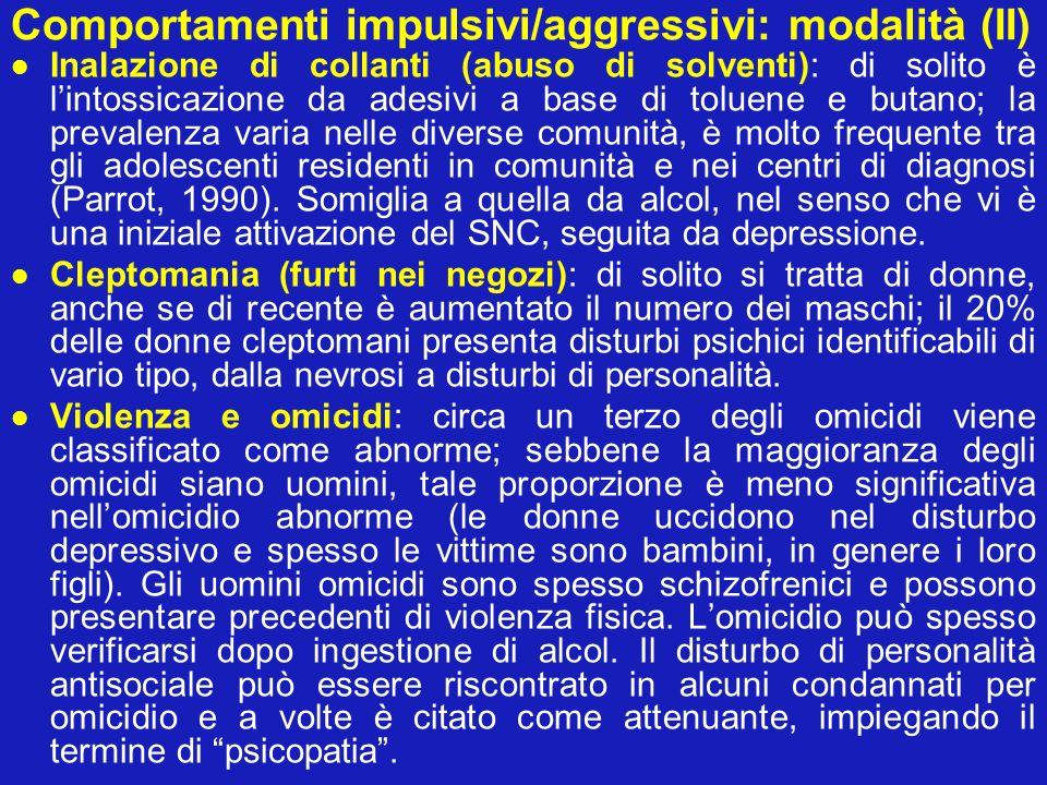 Comportamenti impulsivi/aggressivi: modalità (II)