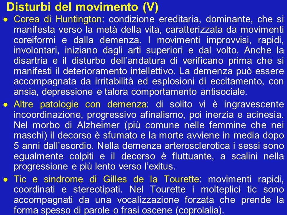 Disturbi del movimento (V)