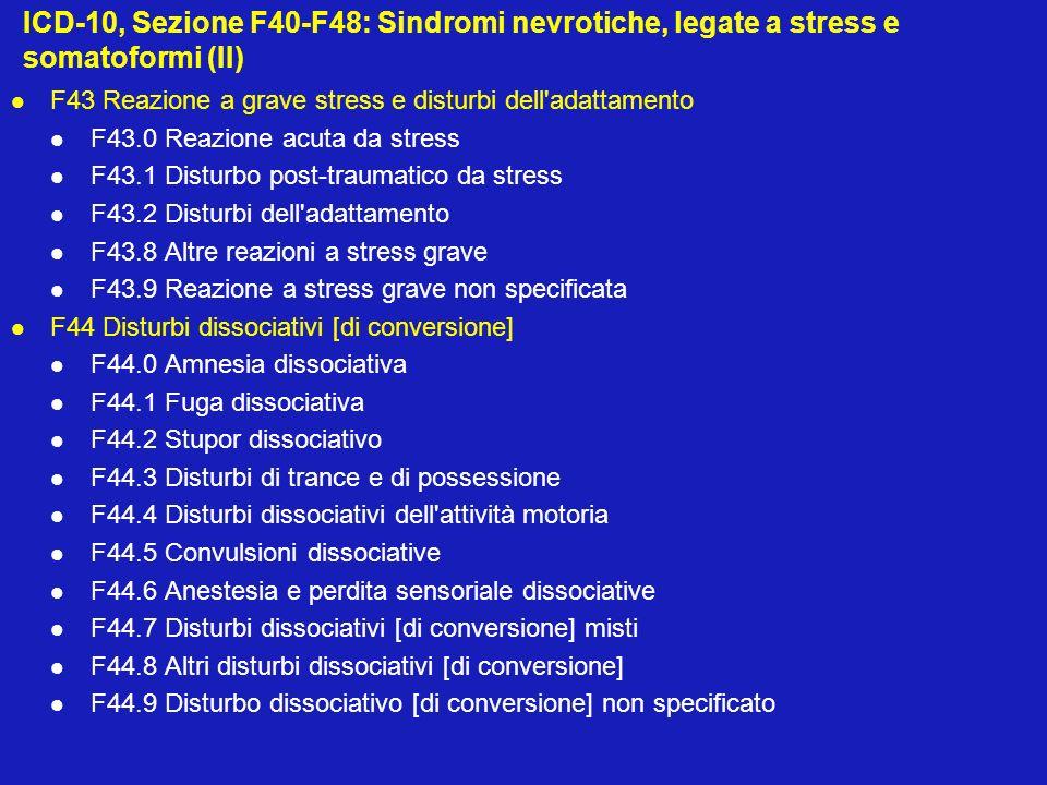 ICD-10, Sezione F40-F48: Sindromi nevrotiche, legate a stress e somatoformi (II)
