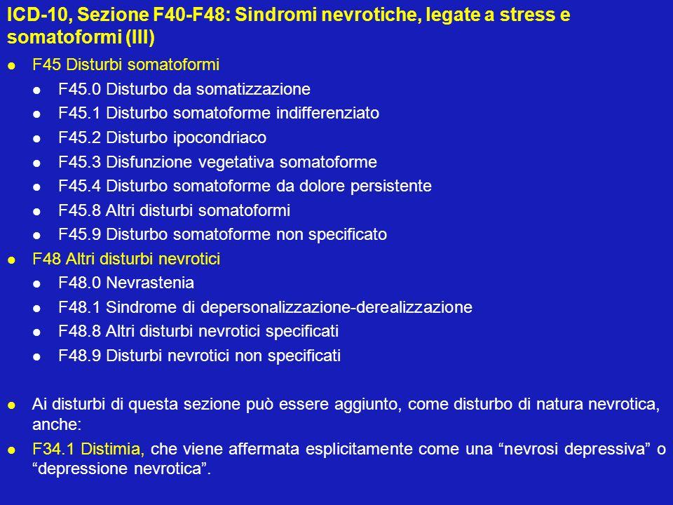 ICD-10, Sezione F40-F48: Sindromi nevrotiche, legate a stress e somatoformi (III)