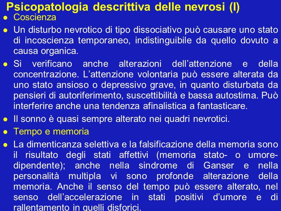 Psicopatologia descrittiva delle nevrosi (I)