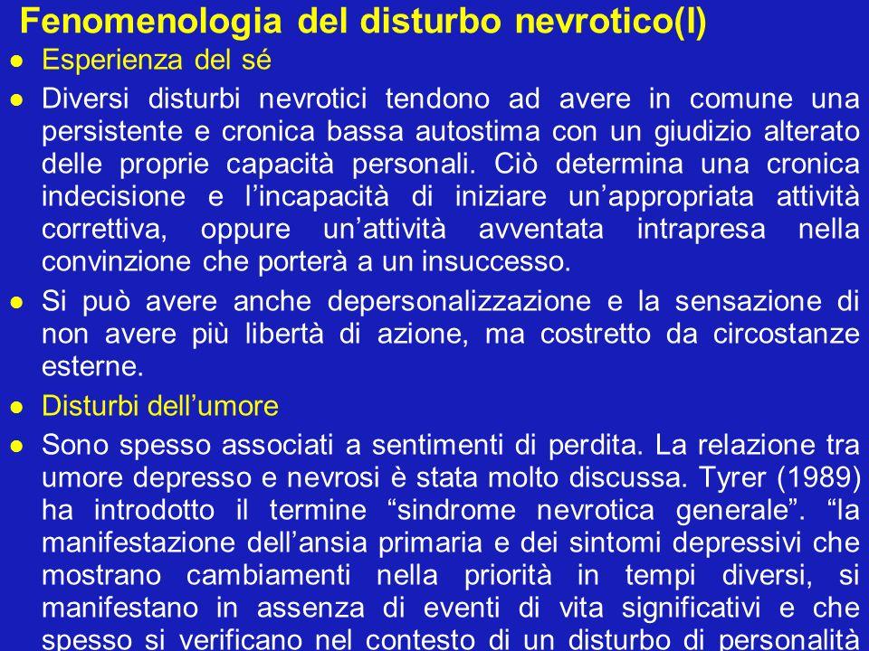 Fenomenologia del disturbo nevrotico(I)