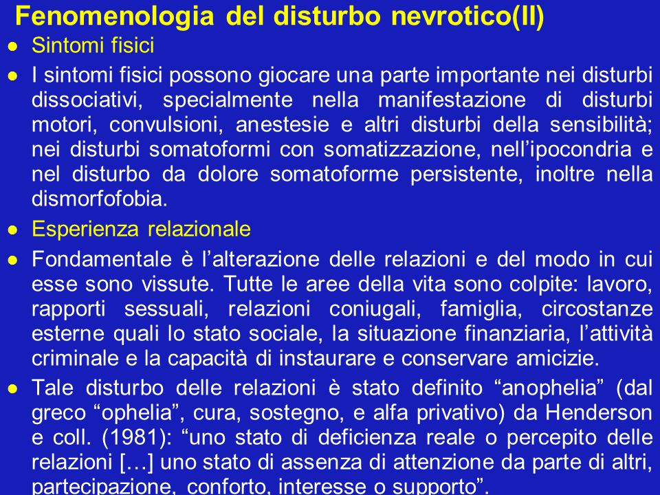 Fenomenologia del disturbo nevrotico(II)