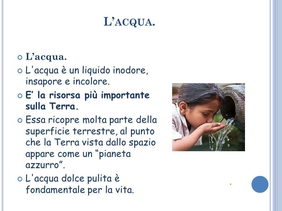 L'acqua. L'acqua. L acqua è un liquido inodore, insapore e incolore.