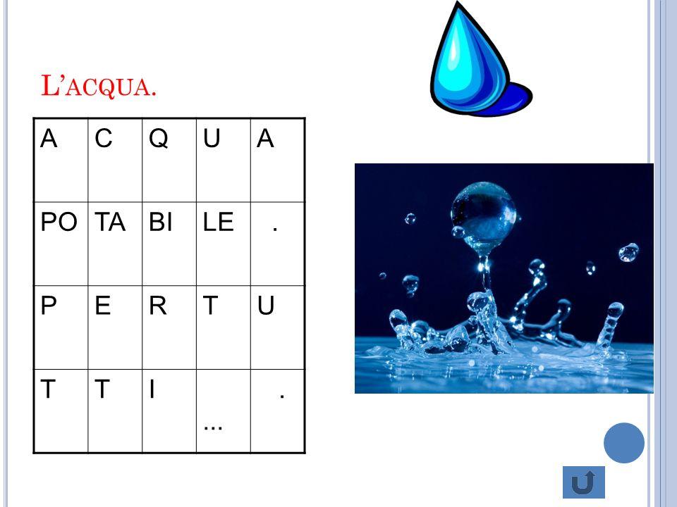 L'acqua. A C Q U PO TA BI LE . P E R T I ...
