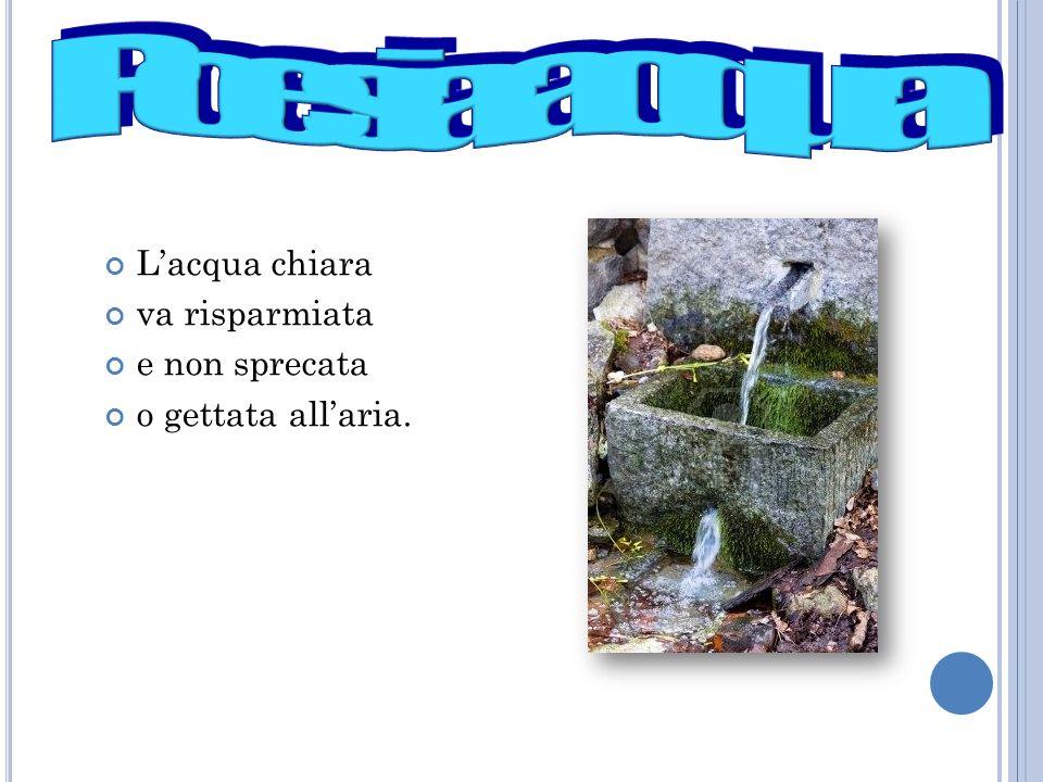 L'acqua chiara va risparmiata e non sprecata o gettata all'aria.