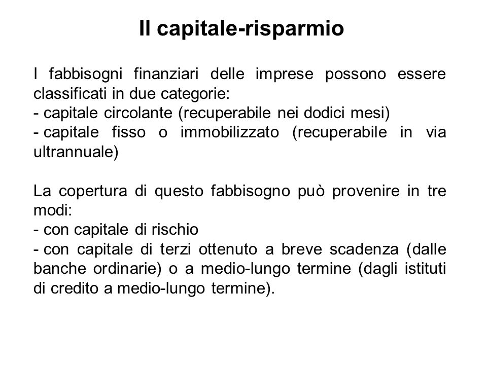Il capitale-risparmio
