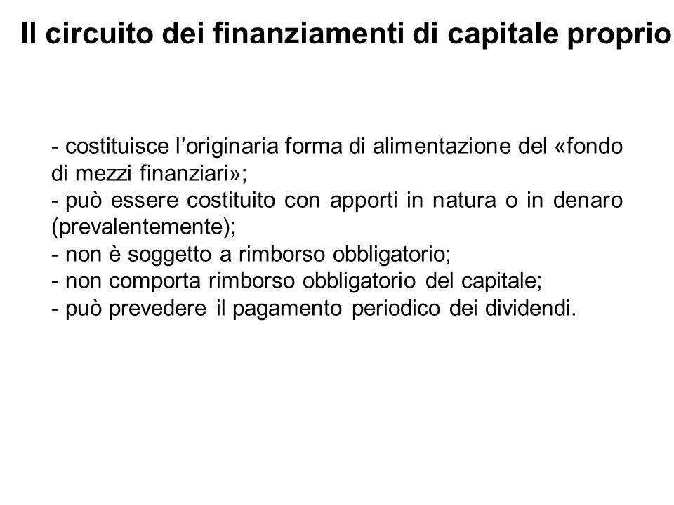 Il circuito dei finanziamenti di capitale proprio