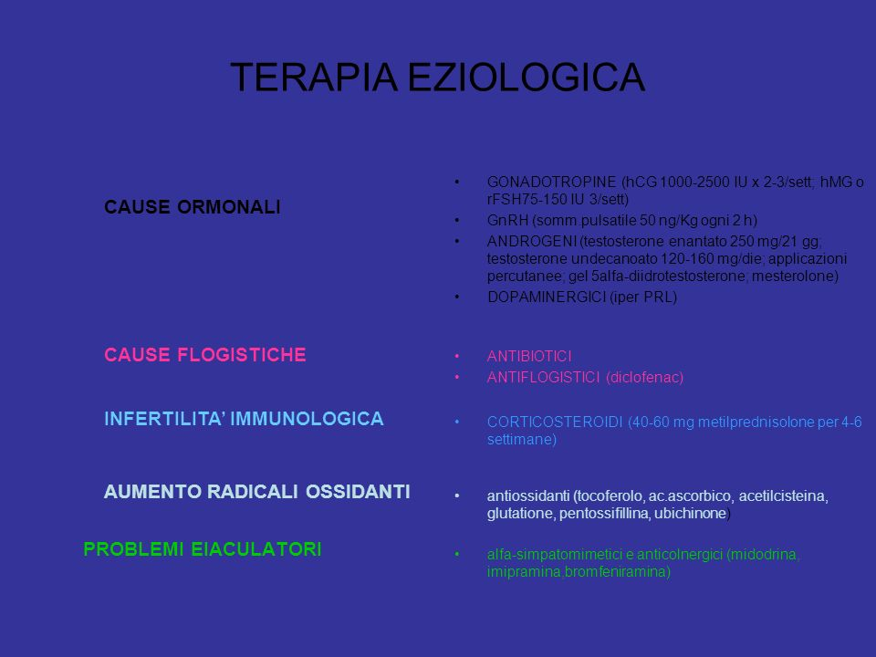TERAPIA EZIOLOGICA CAUSE ORMONALI CAUSE FLOGISTICHE