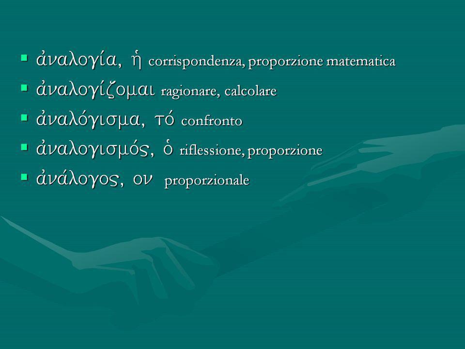 ajnalogiva, hJ corrispondenza, proporzione matematica