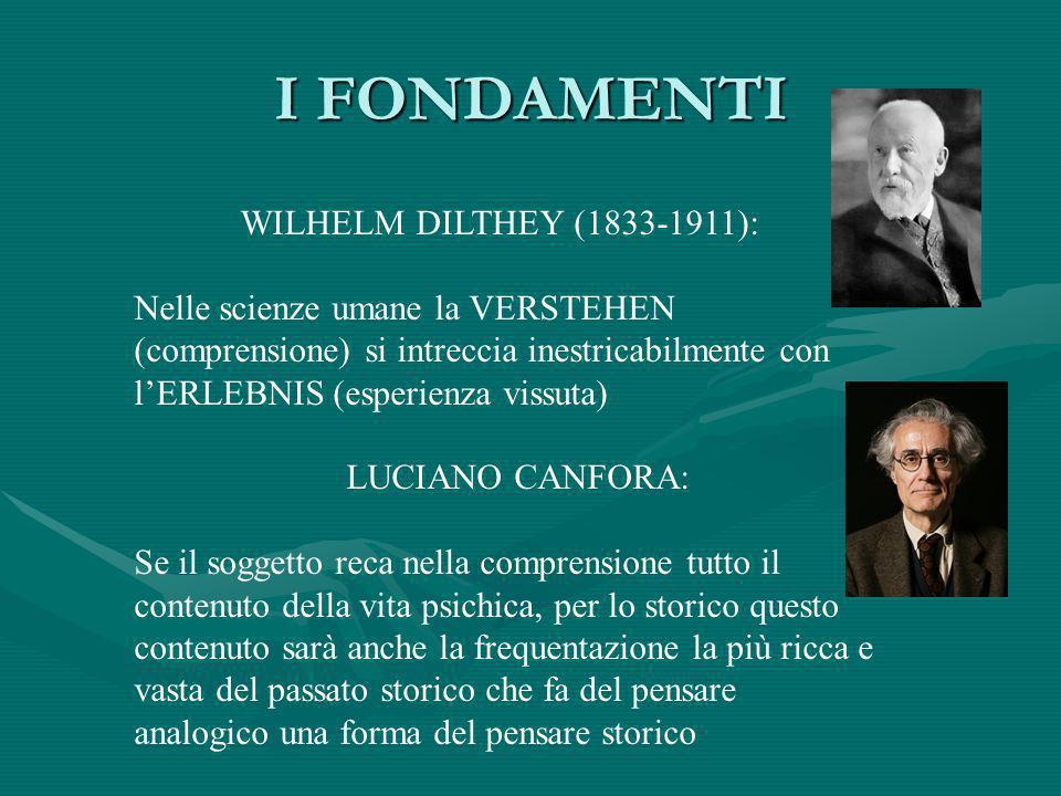I FONDAMENTI WILHELM DILTHEY (1833-1911):