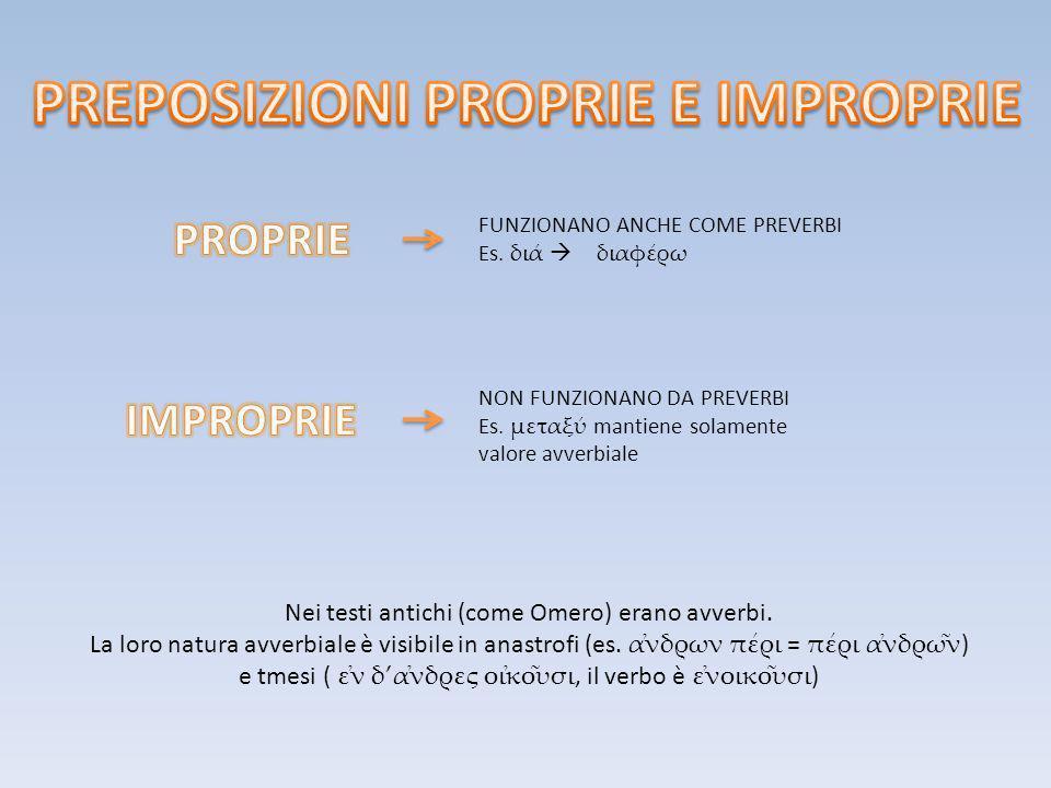PREPOSIZIONI PROPRIE E IMPROPRIE