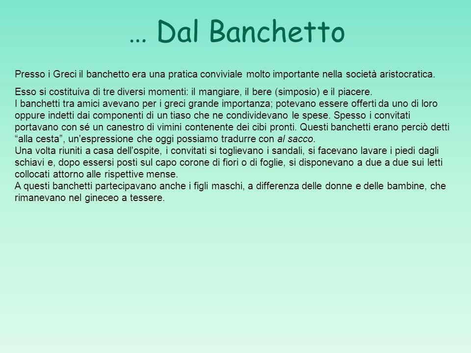 … Dal Banchetto Presso i Greci il banchetto era una pratica conviviale molto importante nella società aristocratica.
