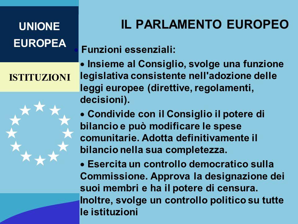 IL PARLAMENTO EUROPEO Funzioni essenziali: